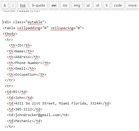mobiTable Plugin HTML Table Code