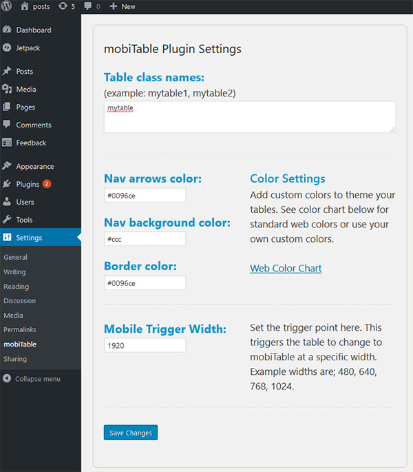 mobiTable for WordPress Settings Page